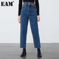 [EAM] Azul Ocio Ong Temperamen Pierna ancha Jeans NUEVO Cintura alta Limita Mujeres Pantalones Moda Marea Primavera Otoño 2020 1dB588