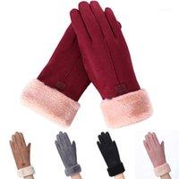 Fünf Finger Handschuhe Mode Frauen Herbst Winter Niedlichen Furry Warm Mitts Finger Finger Mitte Outdoor Sport Weibliche Bildschirm Luvas1