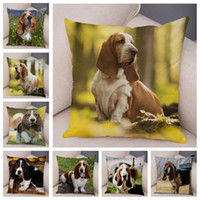 Basset Printed Cushion Cover For Sofa Home Car Decor Cute Pe...