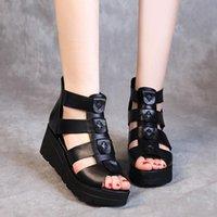 Oukahui 2021 летняя классическая черная натуральная кожа плоская платформа сандалии женские ботинки душистые на молнии гладиатор сандалии женщины
