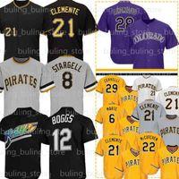 21 Roberto Clemente Jersey 8 Willie Stargell 28 Nolan Arena 12 Wade Boggs 22 Kevin Newman 27 Kent Tekulve Starling Marte Baseball Jerseys