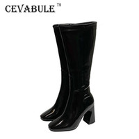 Cevablue 2020 Boots Boots Boots Boots Ginocchio Chunky Heel High Heel Square Toe Cavaliere lungo Donne -260-10