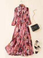 Весна и лето 2020 г. Новая женская одежда модель европейская и американская богиня бабочка галстук принт с высокой талией элегантное длинное платье