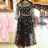 EtOSELL BOHO Vintage Çiçek Nakış Dantel Örgü Elbiseler Moda Pist Elbise Casual Vestidos Y0118