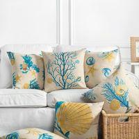 Yastık / Dekoratif Yastık Toptan Keten Durumda Yastık Kapak Sarı Mavi Akdeniz Tarzı Mercan Deniz Kabuğu Ev Dekoratif Almofadas