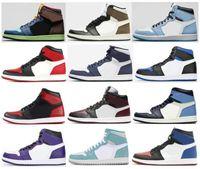 Kalite 1 Üniversite Mavi Karanlık Mocha Kraliyet Toe Bred Toe Yasak Banlı 35th Yıldönümü Basketbol Ayakkabı Erkekler 1s Obsidiyen Turbo Yeşil Sneakers