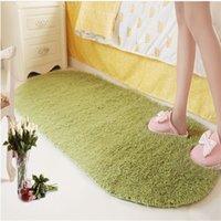 Lindas alfombras mullidas Forma ovalada Espesar color puro alfombras de peluche anti desgaste Decoración de dormitorio espesando Mats de habitación para niños VTKY2215