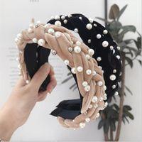 Accesorios para el cabello Pearl Women's Gold Tela de terciopelo Tela Twist Braids BRIMMED DIEVECADA DE MODA CANDA DE LA BANDO DE LA MUJER