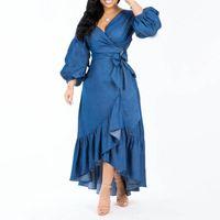 Denim Mavi Kadınlar Fener Kol Sonbahar Elbiseler Yüksek Bel Dantel Up Rahat Uzun Maxi Robe Firması Femme Vestiods Afrika Moda
