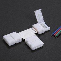 10 Pack Weiße T-Form 4 Pins RGB-LED-Streifen-Stecker Schneller Splitter L2266