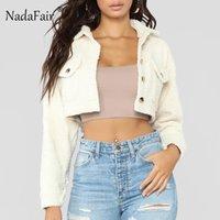 Nadafair Turn Down Faux Fur Teddy Jacket Women Pocket Fluffy Hairly Autumn Winter Jacket Coat Long Sleeve Short Outerwear Coats