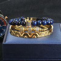 Moda 3pcs / Set Corona Bangel Braccialetto uomo e donna Leopardo Bracciale Bracciale Bracciale Bracciale in acciaio inox Bangles Blu Gioielli Blu CZ