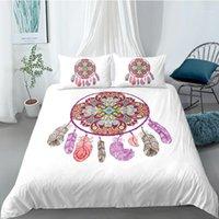Yi chu xin dreamcatcher постельное белье set queen-size красочные перья одеяло чехол богемная мандала постельное белье 3 шт.