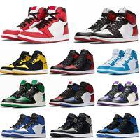 Jumpman jordan 1 Basketball Shoes Running shoes Pine Verde Black Tribunal roxo real Bred Toe NC Obsidian UNC tênis de basquete jogo de formadores
