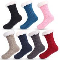 3D-Streifen Winter-lange Groß Slipper Socken Damen AntiSlipper Warm Fleece Knöchel gefüttert Griffige Chunky Weihnachten Cashmere Socken
