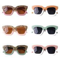 أزياء أطفال ليوبارد الربط اللون مربع الإطار النظارات الشمسية 2021 الأطفال uv حماية نظارات بنين بنات كول كول الشاطئ نظارات A5710