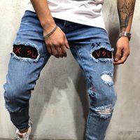 Herren Designer Patches Täbler Jeans Männliche Stretch Skinny Hole Bleistift Hosen Mode Homme Street Style Jeans