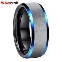 8mm anelli di carburo di tungsteno blu e nero per uomo finitura in alto spazzolato Comfort lucidato Fit1