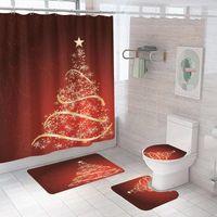 Star Sapin de Noël Modèle Tissu Tissu Rideau de douche Rideaux de salle de bain Bonne année Tapis de baignoire antidérapante Tapis de siège de toilette Tapis1