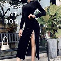 فساتين عارضة خمر الصينية شيونغسام ماكسي المرأة فستان طويل نمط انقسام الشتاء يتأهل خليط سيدة كاملة