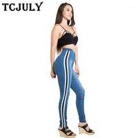 Calças de brim de algodão de moda tcjuly com listras Alto Stretch Skinny Push Up Denim Calças Branqueadas Streetwear Casual Blue Jeans para Mulher1