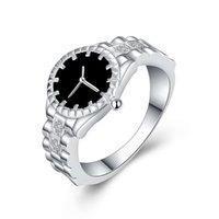 Popular novo relógio anel de prata banhado a jóias