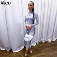 Kliou stampa colore corrispondenza due pezzi set donna sexy bodysuit leggings slim streetwear co-ordine abiti femmina partito clubwear abbigliamento