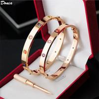 Donia Jewelry Festa Europeia e Americana Moda amor dez diamante clássico Micro-embutido Zircon Titanium Steel Bracelet Bracelete