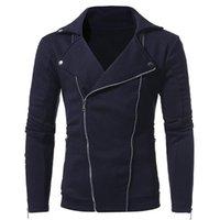 Erkek Ceketler Missky Kış Şık Erkekler Katı Renk Çift Eğik Fermuar Rahat Ince Ceket Benzersiz Kalınlaşmak Sıcak Ceket