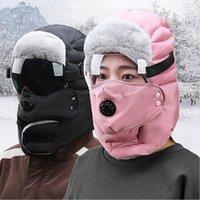 Winter-Trapper-Hut Winddicht Radhaube Hüte Auge Klarer Schild Dicke Warme Gesichtsschutz mit Ohrklappen Maske Outdoor Ski Cap Ljjp806
