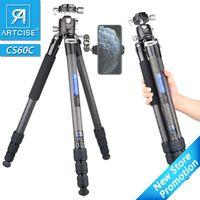 CS60C Professional 10 Layers DSLR 카메라 용 CARCUR FIBOR Tripod 중장비 40mm 로우 프로파일 볼 헤드 컴팩트 한 구조 175cm