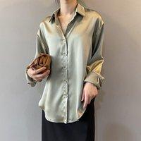 المرأة البلوزات قمصان eorutciz أزياء الساتان بلوزة المرأة طويلة الأكمام كبيرة الحجم قميص الخريف سليم خمر عارضة القمم الأساسية LM1200