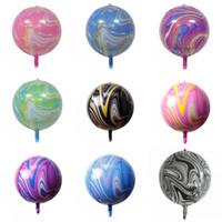 22 pulgadas de mármol de mármol globo de aluminio colorido arco iris globos de mármol para boda bebé fiesta de cumpleaños decoraciones de globo