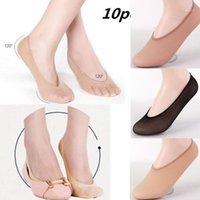 10 parejas Mujeres Invisible Footsies Lineral de zapatos Entrenador Ballerina Barco Socks Ladies Thin Sock Zapatillas Color de caramelo Un tamaño1