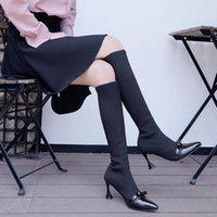 Vendita calda-stivali da donna 2020 autunno inverno ginocchio ginocchio stivali alti per scarpe da donna a maglia a maglia lana lunga stivale da donna appuntita punta di punta bianche scarpe da donna