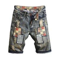 Calças de calças de brim rasgadas retas Homens Verão Brand New Mens Estiramento Calça Central Casual Streetwear Elastic Biker Denim Shorts