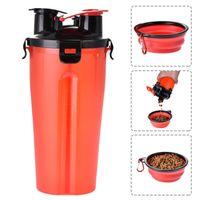 Alimentador de cães 2 em 1 cão garrafa de água animal de estimação comida tigelas de viagem de viagem recipiente de alimentos recipiente copos ferramentas de estimação suprimentos wq467