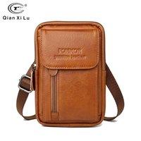 Sacos de cintura Genuine Leather Wasit Bag para Homens Telefone Celular Fanny Pack Mini Bolsa de Cinto Caso Capa Caso Capa Holder Titular Travel