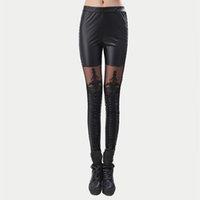 Siyah Legins Punk Gotik Moda Kadınlar Tayt Seksi PU Deri Dikiş Nakış Boş Dantel Legging Kadınlar Leggins 201203