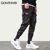 Gonthwid Ruban Boucle Multi-Pockets Harem Joggers Pantalons Streetwear Hommes Hip Hop Casual Casual Cargo Santé pantalon Pantalon Homme 201112