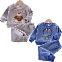 Neue Herbst Winter Baby Kleidung Pyjamas Sets Mädchen Pyjamas Kinder Warme Flanell Fleece Catoon Bär Kinder Nachtwäsche Home Anzug 1-6Y LJ201216