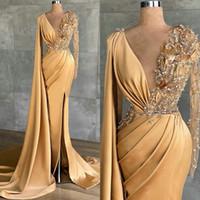 2021 여성을위한 샴페인 새틴 이브닝 드레스 베드 v 넥 높은 분할 자네 댄스 파티 가운 롱 포장 공식 가운 드 Soirée AL8554