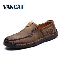 2019 Yeni Moda Stil Deri İlkbahar rahat ayakkabı erkekler Ayakkabı El yapımı Vintage Loafers Flats Sıcak Satış Makosenler Büyük Boyut