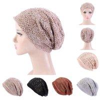 Cappellini per berretti / teschio di modo Abbigliamento per donna Abbia Abbia Abbia Autunno Ragazze Cappelli Casual Cucitura Casual Maglia Strass Strass Turbante caldo