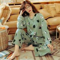 여성 잠옷 플러스 사이즈 Femme Nighty 캐주얼 홈웨어 Loungewear 코튼 잠옷 만화 V 넥 Pijama Pajamas M-3XL Best T200707