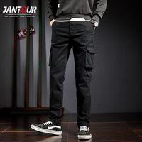 Jantour 2020 hombres harén pantalones de carga pantalones casuales pantalones machos pantalones algodón suelto recto multil-bolsillo tamaño grande 36 38