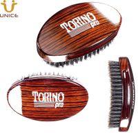 MOQ 100 pcs Amazon Hot Sale OEM Custom LOGO 360° Wave Brush Boar Bristles Hair Brush for Short Hair Curved Military Wave Brush