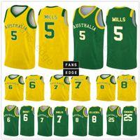 Équipe de la Coupe du monde 2019 Australie Basketball Jerseys 5 Patty Mills 12 Aron Baynes 8 Matthew Dellavedova 6 Andrew Bogut Chemise imprimée personnalisée