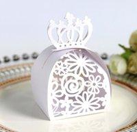 Hediye Paketi Altın / Kırmızı Düğün Favor Kutusu Çanta Gül Lazer Kesim Çikolata Karton Kağıt için Hollow Şeker