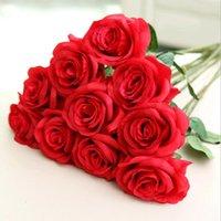 Деликатный имитационный искусственный букет из розы шелковая ткань имитация реального сенсорного цветения цветок дома украшения свадьбы цветы wq197